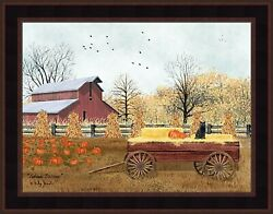 AUTUMN BLESSINGS by Billy Jacobs 16x20 Wagon Pumpkins Black Cat FRAMED WALL ART $34.95