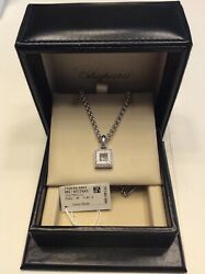 Authentic CHOPARD HAPPY DIAMONDS 18K WHITE GOLD NECKLACE