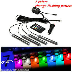 4pcs Car LED Light Interior Strip Lamp Atmosphere SUV Floor Remote Control $14.44