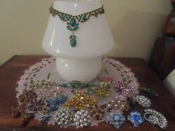 Lot of 35  Beautiful Rhinestone Vintage  Necklaces earrings Brooches