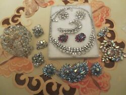 Lot of 12 Sherman Crystal Aurora BraceletEarringsBrooches Signed
