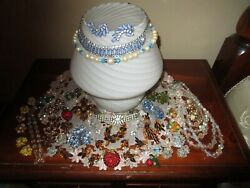 Lot of 35 Beautiful Rhinestone Vintage High End BroochesNecklaces