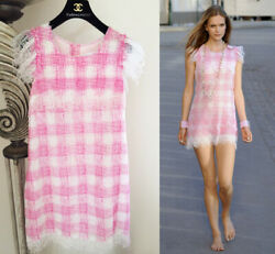 GORGEOUS 11C RUNWAY CHANEL PINK WHITE GINGHAM DRESS 40