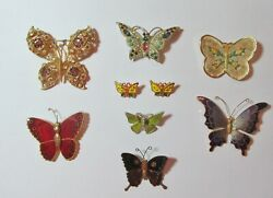 Vintage Gorgeous Lot All Butterfly Pins Brooches Rhinestones Enamel