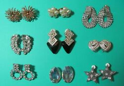 Vintage Gorgeous Lot All Clear Rhinestone Earrings Bergere Avon
