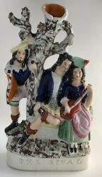 """ANTIQUE STAFFORDSHIRE POTTERY FIGURAL FIGURE GROUP SPILL VASE """"THE RIVAL"""""""