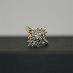 Estate Vintage STAR GLO 14K Yellow Gold amp; Diamond Cluster Ring Size 7.5 A1739 $999.99