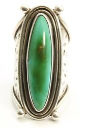 Vintage Navajo Sterling Silver Stamped Blue Gem Turquoise Column Ring Sz4.54.75