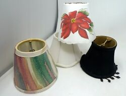 Lot 4 Mini Chandelier Lamp Shades Wall Sconce Clip On 4quot; Beads Poinsettia Silk $14.99