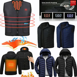 USA Electric Vest Heated Jacket CoatUSB Thermal Warm Heat Pad Winter Body Warmer