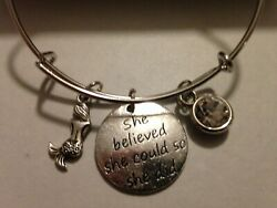 Mermaid Bracelet Charm Bangle She Believed She Could Crystal Beach Swim SILVER