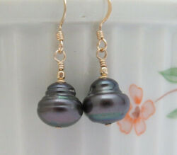 PEACOCK BLUE GRAY PEARL Earrings 14K GOLD FILL Freshwater BAROQUE Cultured GIFT