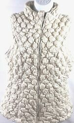 Robert Kitchen Canada Womens Size Large Puffer Vest Full Zip Egg Shell Side Zip $30.05