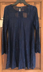 Francescas EUC Trixxi Navy Lace Long Sleeve M Dress $19.99