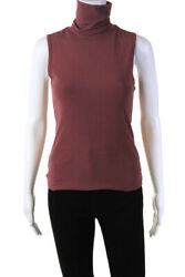 Theory Womens Sleeveless Turtleneck Thin Knit Tank Top Brown Size Small