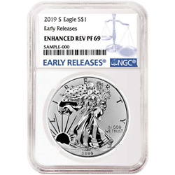 2019-S Enhanced Reverse Proof $1 American Silver Eagle NGC PF69 Blue ER Label