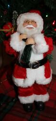 Standing 12quot; Christmas Traditional Santa Claus sack with tree amp; gifts NWT $9.99
