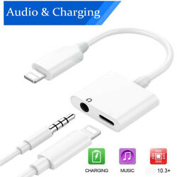 2in1 Audio Splitter Adapter Charger 3.5mm Earphone For iPhone 7 8 X Plus XR MAX $5.39