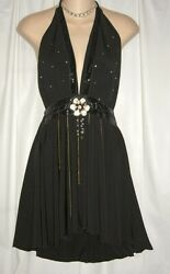 New Sexy Plunging Neckline Black Boutique Embellished Long Halter Top Tunic $20.00
