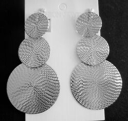 3quot; Long CLIP ON EARRINGS Silver Disc Circles DROP CHANDELIER Jewelry NON PIERCED $15.29