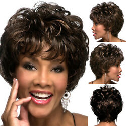 Fashion Ombre Synthetic Afro Wigs Black Brown Wavy Curly Style Short for Women $16.52