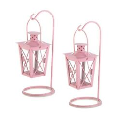 Pink Metal Railroad Candle Lanterns w Stands 1 pair $14.40