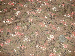 Vintage Cotton Fabric SMALL SHADES OF PINK amp; WHITE FLORAL VINES ON BROWN 33quot; $12.00