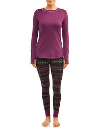 PLUM 2 Pc Climate Right Cuddl Duds Set Womens Top & Leggings Pajamas Base Layer