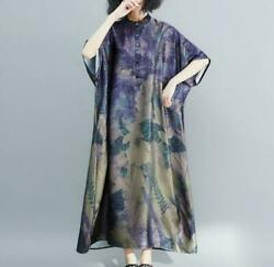Womens Long Summer Short Batwing Sleeve Printed Floral Oversize Dresses