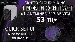 1 Month CLOUD MINING Contract Antminer Rental S17 Lease BITCOIN Hashing 56+ THs