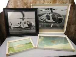 4 FRAMED LARGE HELICOPTER PHOTOGRAPHS 2 EARLY 1970s GBP 12.00