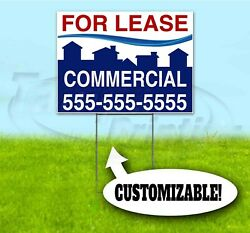 COMMERCIAL FOR LEASE CUSTOM 18x24 Yard Sign WITH STAKE USA REALTOR REAL ESTATE