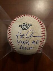 Opening Day Game Used Pete Alonso Debut Autograph Signed Inscribed Baseball Mets
