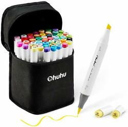 New 48 Colors Alcohol Brush Markers Ohuhu Double Tipped Sketch Markers for Kids