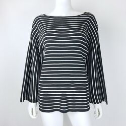Ann Taylor Size XL Sweater Bell Sleeve Black White Striped Ribbed Knit Stretch