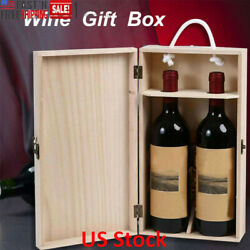 Wooden 750 ml Wine Box Double Storage Bottle Strap Crates Shell Gift Case Decors