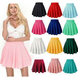 Women#x27;s High Waist A Line Skater Mini Skirt Flared Pleated Short Skirt Dress New $8.89