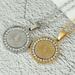 Men#x27;s Stainless Steel Rhinestone Bible Text Prayer Tag Pendant Necklace Chain $7.45