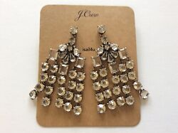 J.Crew Crystal Chandelier Earrings NWT Authentic With Pouch $38.25