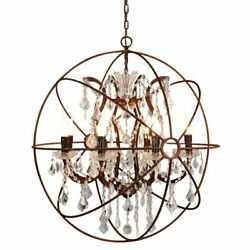 Vintage 6 Light Sphere Metal Orb Chandelier with Crystal Bedroom Ceiling Light $272.59
