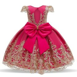 Kids Lace Bow Princess Dress Flower Girl Dresses Formal Party Pageant Prom Gown $17.98