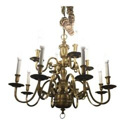 Ethan Allen Two Tier Twelve Candle Light Brass Chandelier