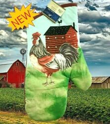 New Home Collection Kitchen Red Farm House amp; Rooster Oven Mitt Glove 7 x 13 $7.99