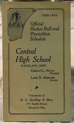 1909 10 Spalding Central H.S. Cleveland OH Basketball Schedule Trifold Rare $14.95