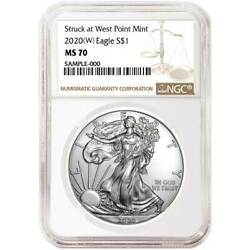 2020 (W) $1 American Silver Eagle NGC MS70 Brown Label $47.14