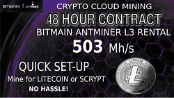 Bitmain ANTMINER L3 Rental Scrypt CLOUD Mining Contract LTC Hashing 48 Hour Lite $4.50