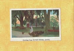 CT Sandy Hook 1908 29 colorful GREETINGS FROM postcard Conn HOME CHICKENS ETC $6.70