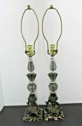VINTAGE PAIR LAMPS SMOKEY GRAY STACKED FACETED GLASS MID CENTURY 19quot; MARBLE BASE $109.95