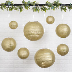 8 GOLD Assorted Sizes Hanging Paper Lanterns Party Wedding Events Decorations $9.03