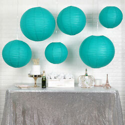 6 TURQUOISE Assorted Large Hanging Paper Lanterns Wedding Events Decorations $13.05